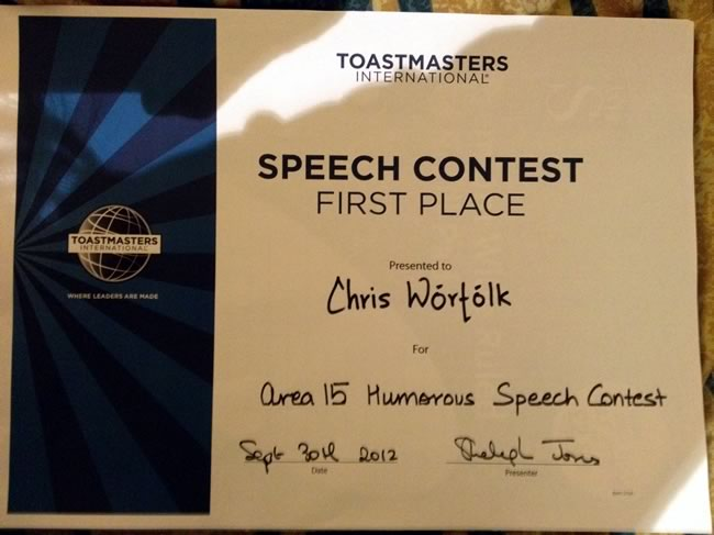 Toastmasters area competition certificate