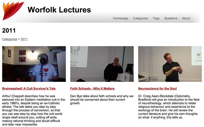 Worfolk Lectures update