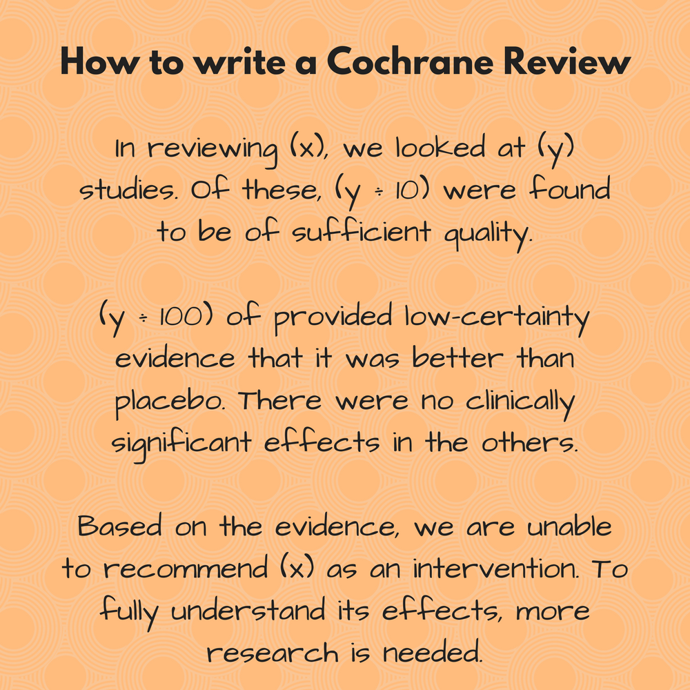 writing a cochrane systematic review wikipedia
